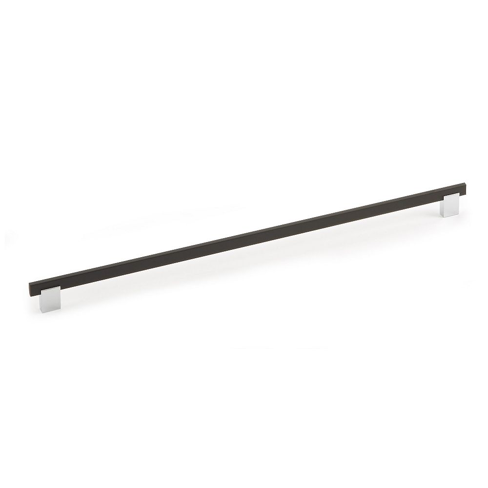Richelieu Madison Collection 18 7/8 in (480 mm) Center-to-Center Matte Black, Chrome Contemporary Cabinet Pull