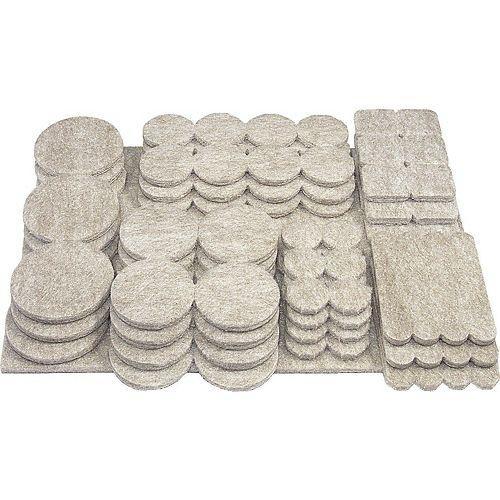 FELTAC Heavy-Duty Self-Adhesive Multipack Felt Pads