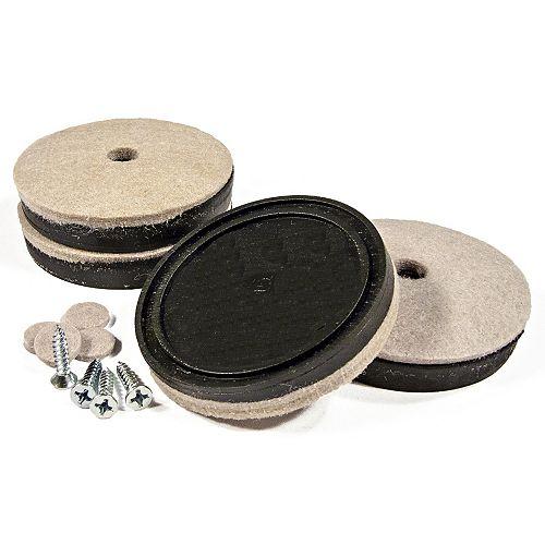 SUPER FELTAC Heavy-Duty Round Furniture Felt on Vinyl Pads
