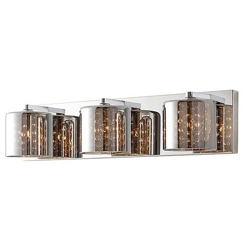 3-Light Mirrored Stainless Steel Vanity Light with Chrome Glass Shades