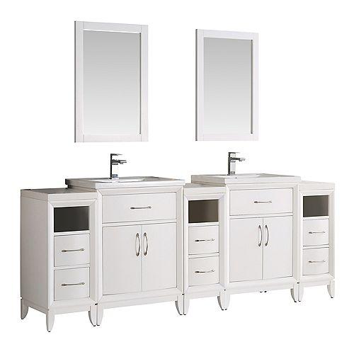 Cambridge 84 in. Vanity in White with Porcelain Vanity Tops in White and Mirrors