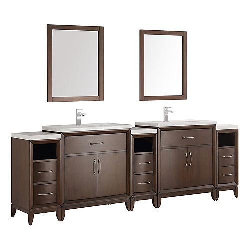 Cambridge 96 in. Vanity in Antique Coffee with Porcelain Vanity Tops in White and Mirrors