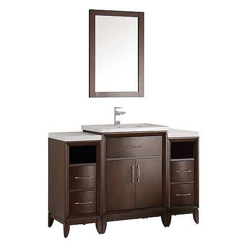 Cambridge 48 in. Vanity in Antique Coffee with Porcelain Vanity Top in White and Mirror