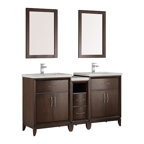 Cambridge 60 in. Vanity in Antique Coffee with Porcelain Vanity Tops in White and Mirrors