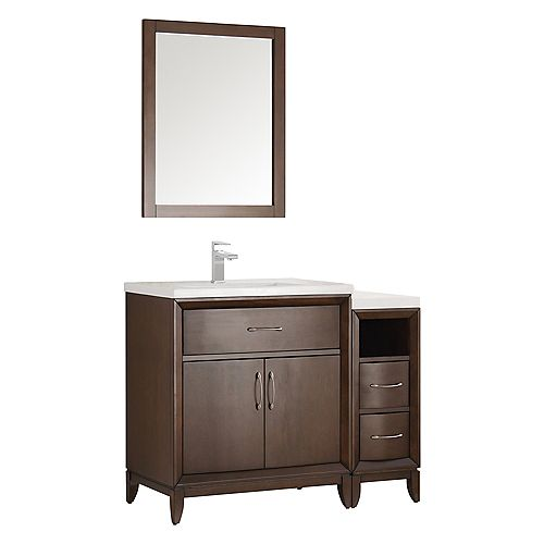 Cambridge 42 in. Vanity in Antique Coffee with Porcelain Vanity Top in White and Mirror