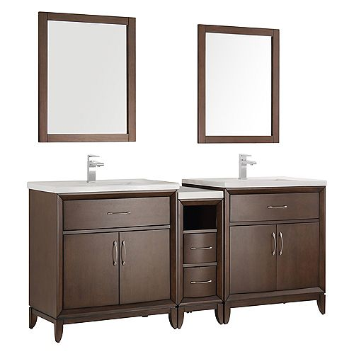 Cambridge 72 in. Vanity in Antique Coffee with Porcelain Vanity Tops in White and Mirrors