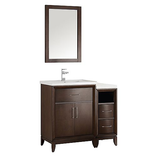 Cambridge 36 in. Vanity in Antique Coffee with Porcelain Vanity Top in White and Mirror