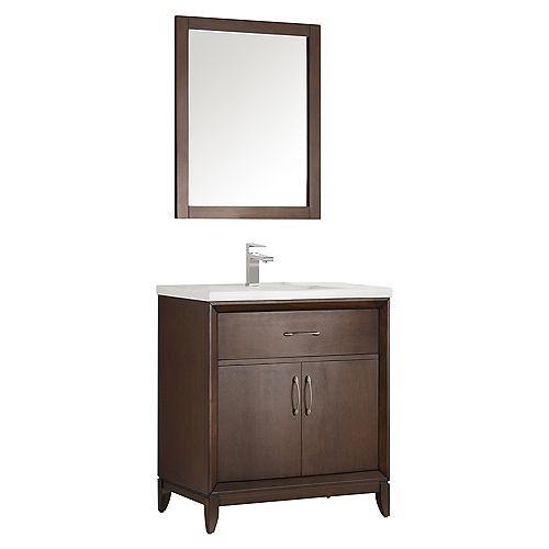 Cambridge 30 in. Vanity in Antique Coffee with Porcelain Vanity Top in White and Mirror
