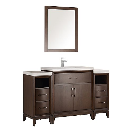 Cambridge 54 in. Vanity in Antique Coffee with Porcelain Vanity Top in White and Mirror