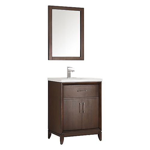 Cambridge 24 in. Vanity in Antique Coffee with Porcelain Vanity Top in White and Mirror