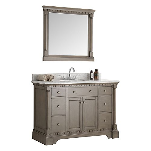 Kingston 48 in. Vanity in Antique Silver with Marble Vanity Top in Carrera White and Mirror
