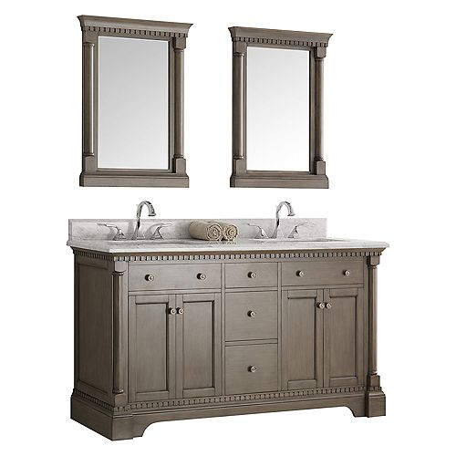 Kingston 60 in. Vanity in Antique Silver with Marble Vanity Top in Carrera White with and Mirrors