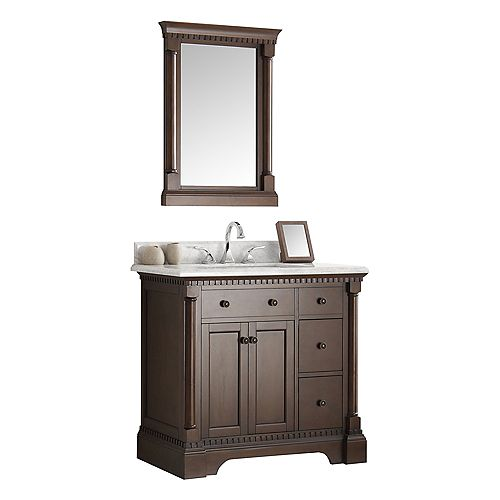 Kingston 36 in. Vanity in Antique Coffee with Marble Vanity Top in Carrera White and Mirror