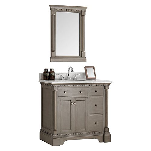 Kingston 36 in. Vanity in Antique Silver with Marble Vanity Top in Carrera White and Mirror
