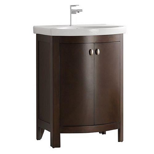 Niagara 24 in. Bathroom Vanity in Antique Coffee with Vanity Top in White
