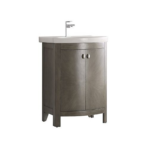 Fresca Niagara 24 in. Bathroom Vanity in Antique Silver with Vanity Top in White