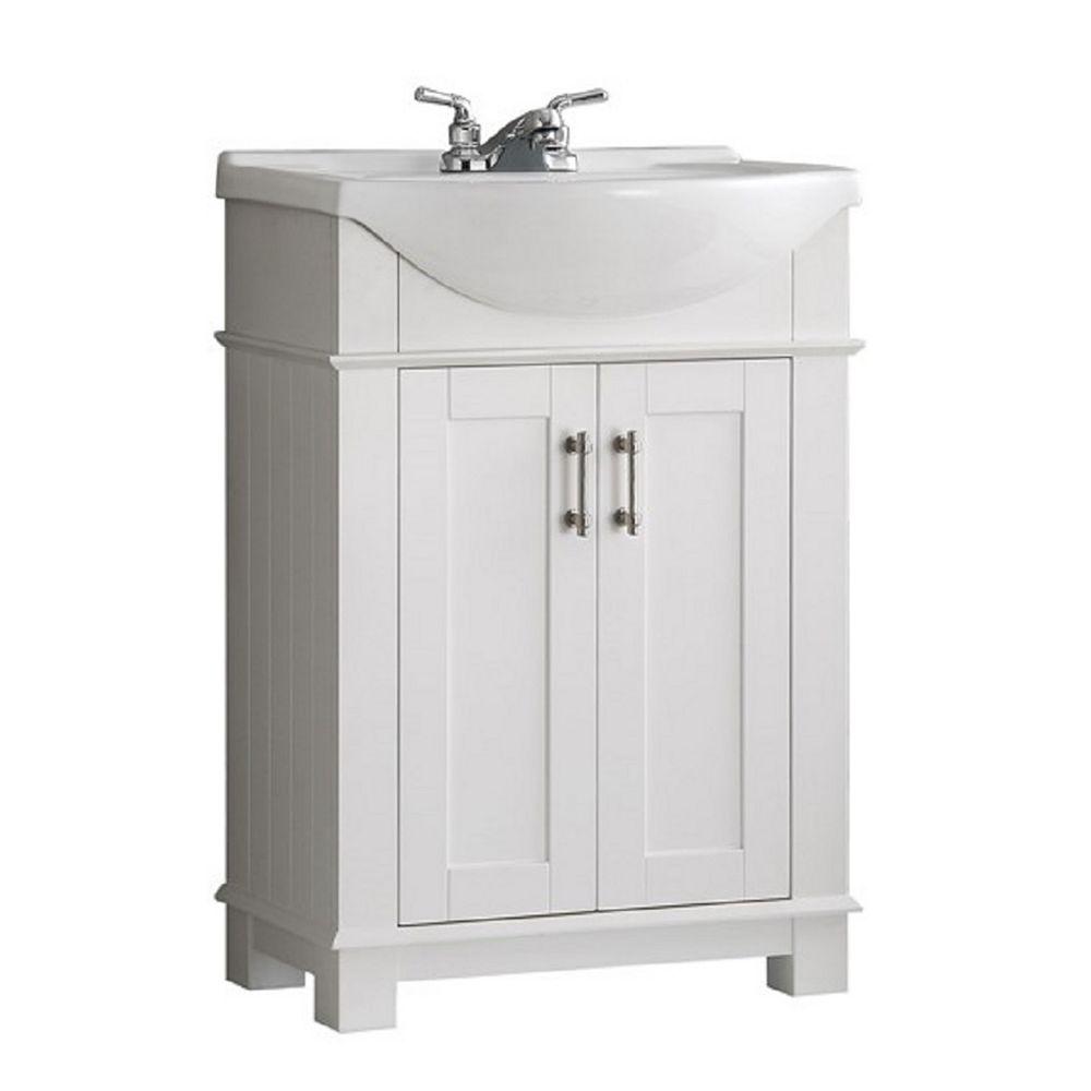 Fresca Hudson 24 in. Bathroom Vanity in White with Ceramic Vanity Top in White