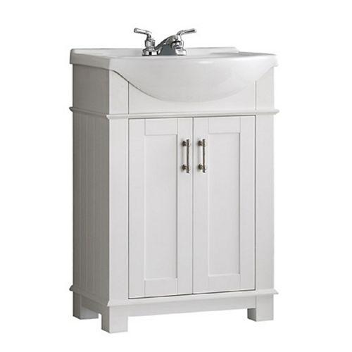 Fresca Meuble-lavabo Hudson blanc avec dessus blanc en céramique, 24 po