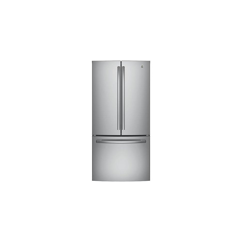 GE Réfrigérateur à porte française encastrée de 33 po. 18,6 pi. cu. en acier inoxydable, profondeur du comptoir - ENERGY STAR®