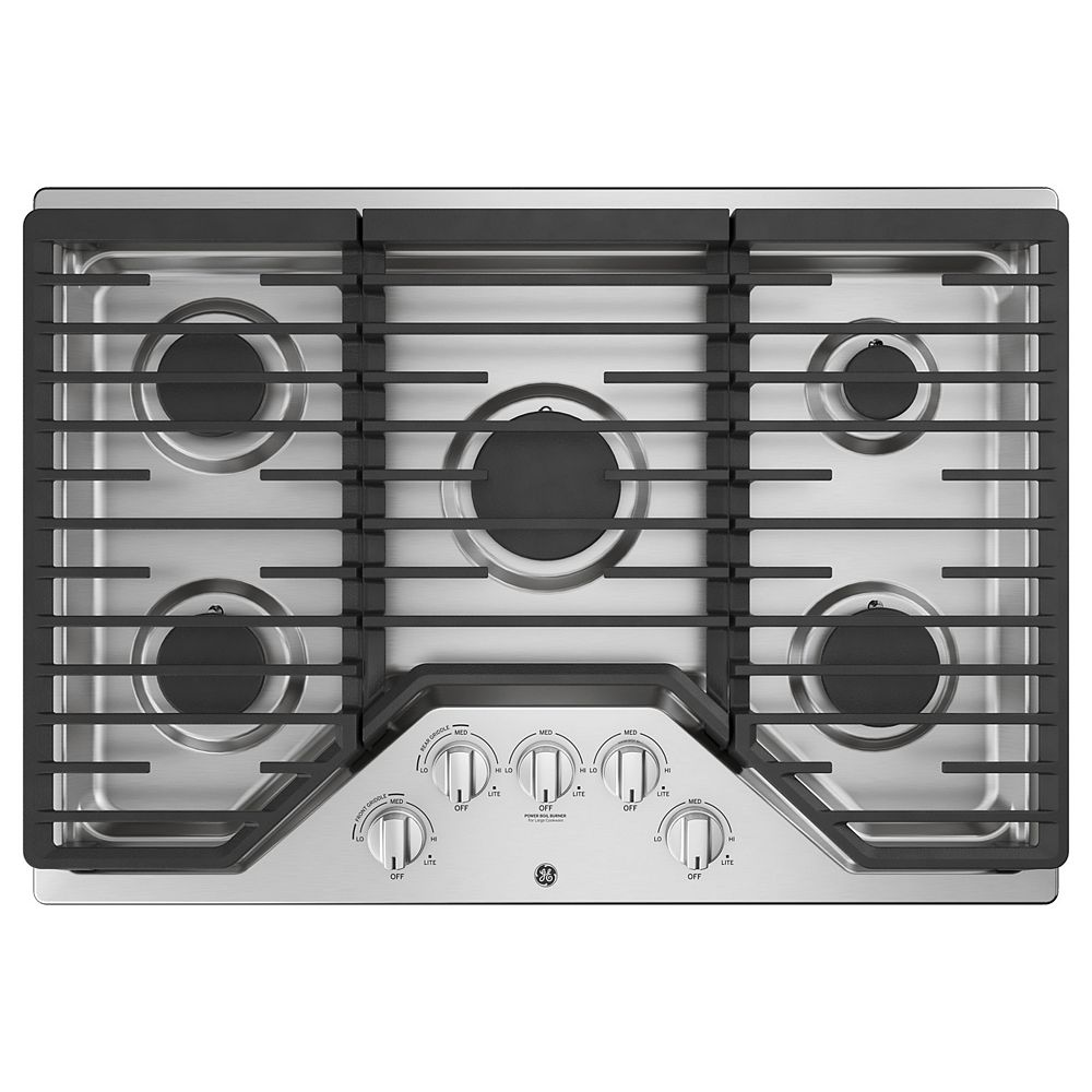 GE 30-inch W Gas Cooktop with 5 Burners Including Power Burners in Stainless Steel