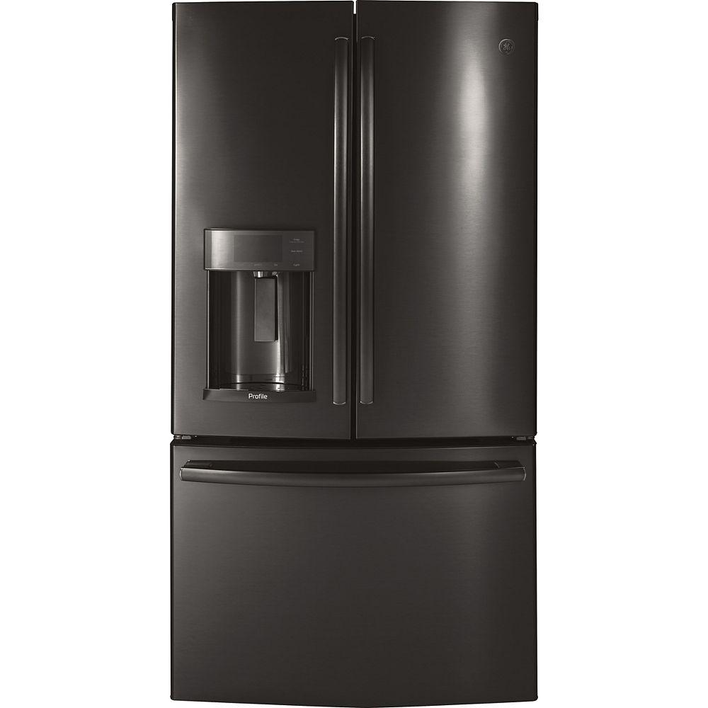 GE Profile 36-inch W 22.2 cu. ft. French Door Refrigerator with Door-in-Door in Black Stainless Steel