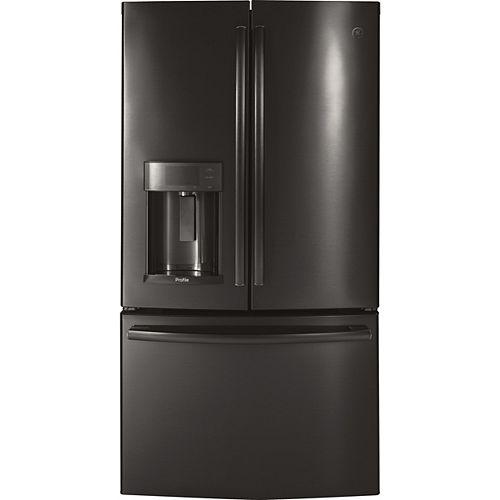 GE Profile Réfrigérateur à porte française de 36 po W 22,2 pi. cu. avec porte dans la porte en acier inoxydable noir