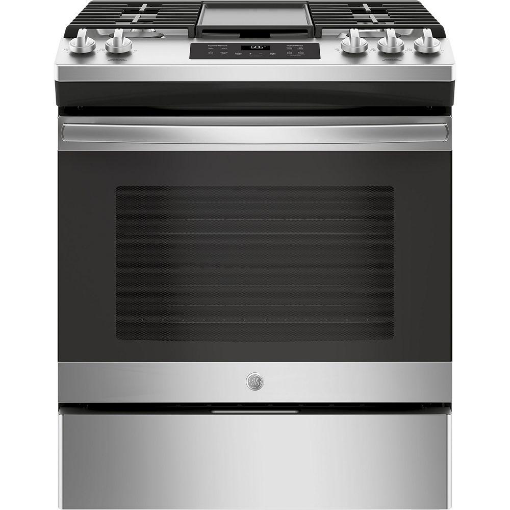 GE Cuisinière à gaz à four unique de 30 pouces 5,0 pieds cubes avec nettoyage à la vapeur en acier inoxydable