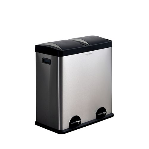 60.5 L 2-Compartment Stainless Steel Trash Can and Recycling Bin