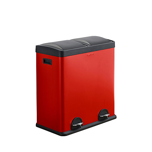 Step N' Sort, 60 Litre 2 Compartment Trash and Recycling Bin RED
