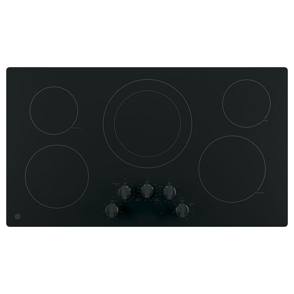 GE Bouton de commande intégré de 36 po W pour table de cuisson électrique avec 5 éléments en noir