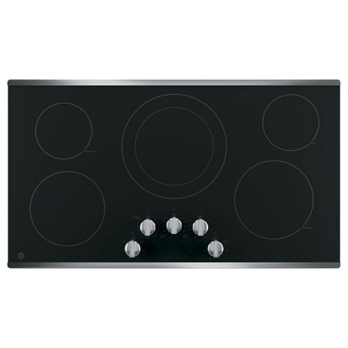 GE 36-inch W Electric Cooktop Built-in Knob Control with 5 Elements in Stainless Steel