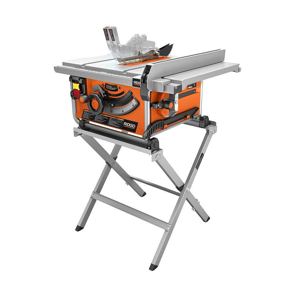 RIDGID 15 Amp Corded 10-Inch Compact Table Saw with Carbide Tipped Blade and Folding X-Stand