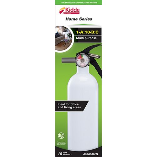 1-A:10-B:C Multipurpose Home Series White Fire Extinguisher