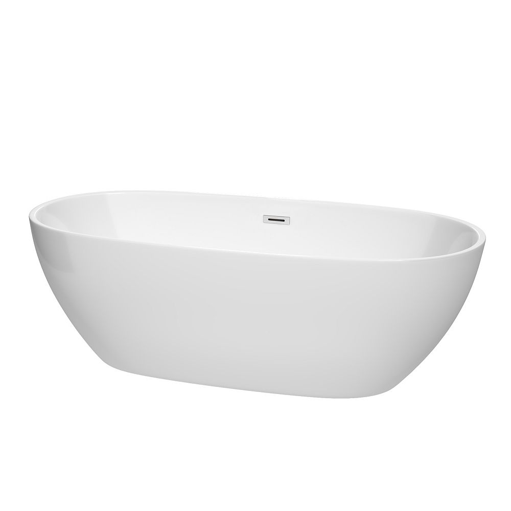Wyndham Collection Juno 71 inch Freestanding Bathtub in White with Polished Chrome Drain and Overflow Trim