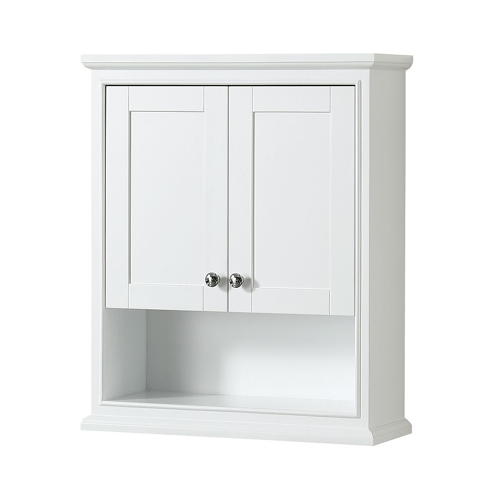 Wyndham Collection Deborah Bathroom Wall-Mounted Storage Cabinet in White