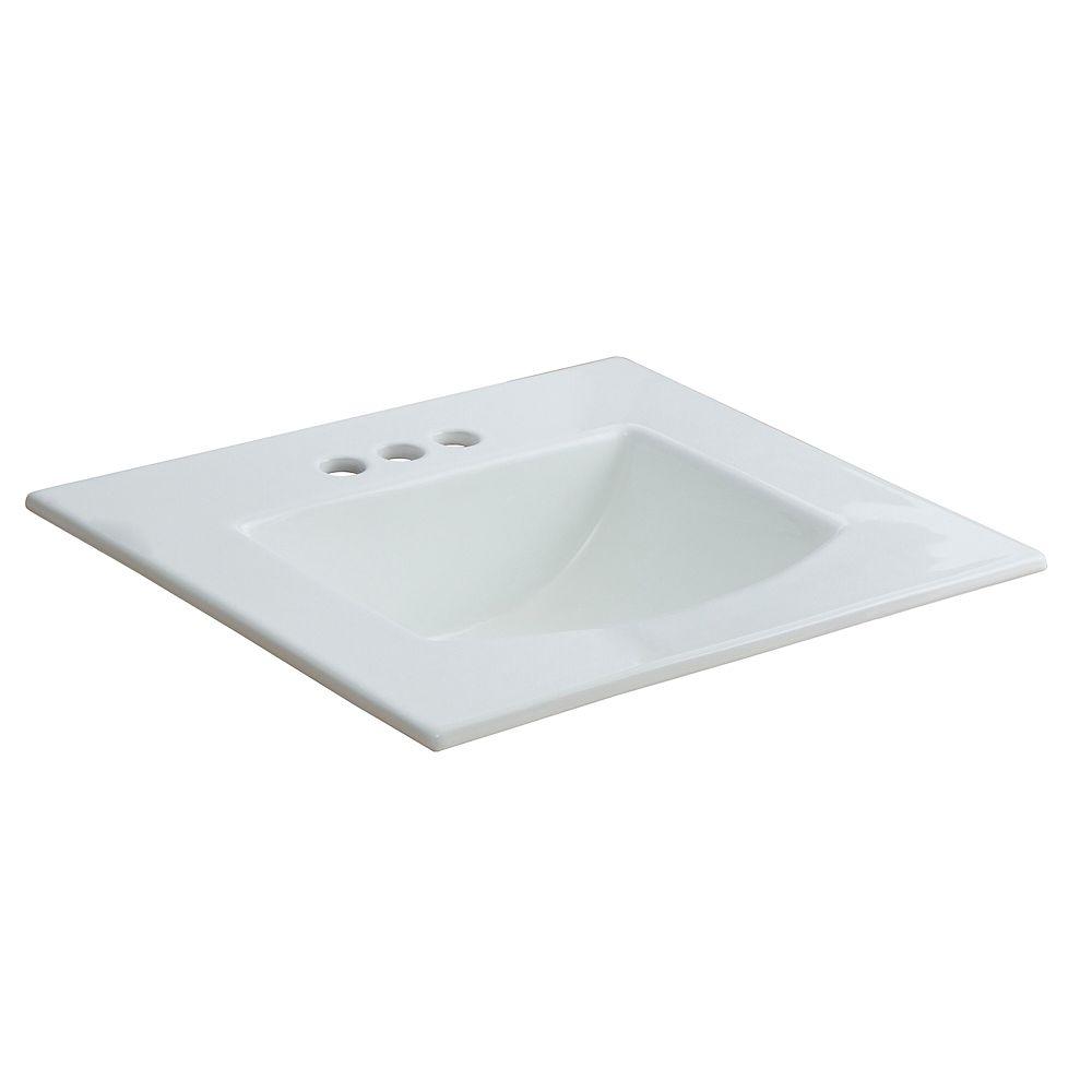 Glacier Bay Retro Square Drop-in Sink in White