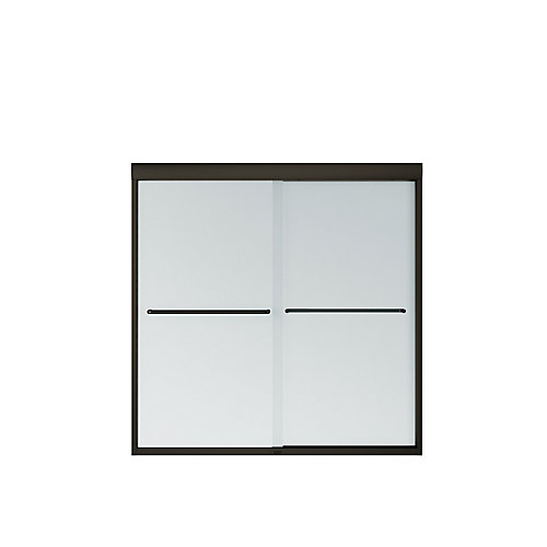 Tonik 59 inch x 57 inch Frameless Sliding Tub Door in Dark Bronze with Mistelite Glass