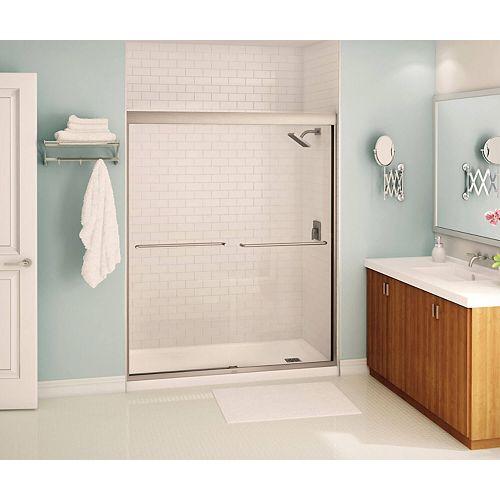 Tonik 55 - 59 x 71 po. Porte de douche coulissante semi-cadrée, fini nickel brossé avec verre clair