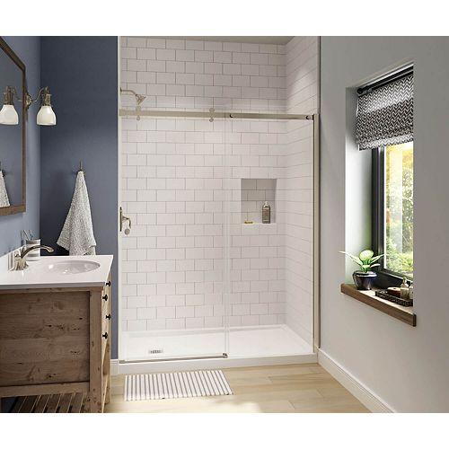 Luminescence 59 inch x 70 1/2 inch Frameless Sliding Shower Door in Brushed Nickel