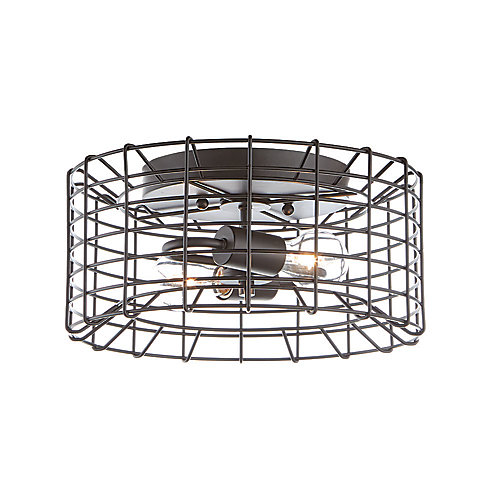 2-Light Black Flushmount with Metal Cage Shade