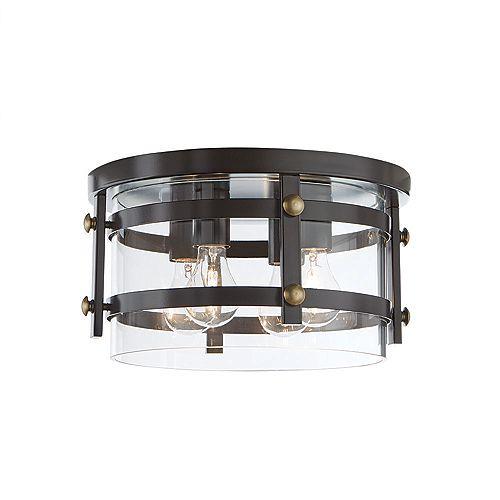 Plafonnier bronze huilé, 4ampoules, 60W, 13,88po, diffuseur en verre transparent