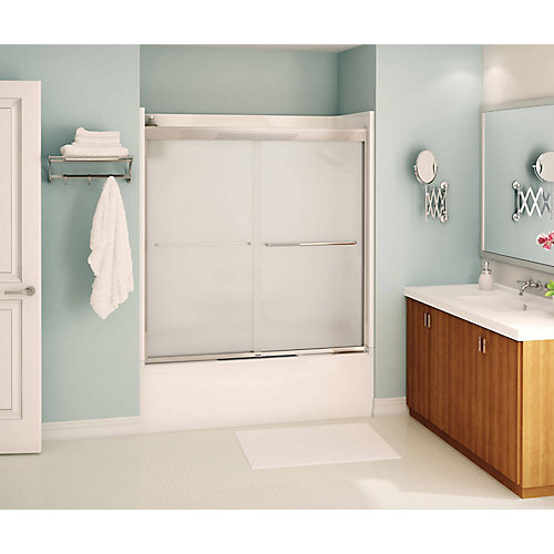 Tonik 59 inch x 57 inch Frameless Sliding Tub Door in Chrome with Mistelite Glass