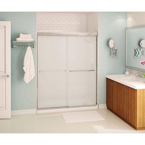 Tonik 59 inch x 71 inch Frameless Sliding Shower Door in Chrome with Mistelite Glass