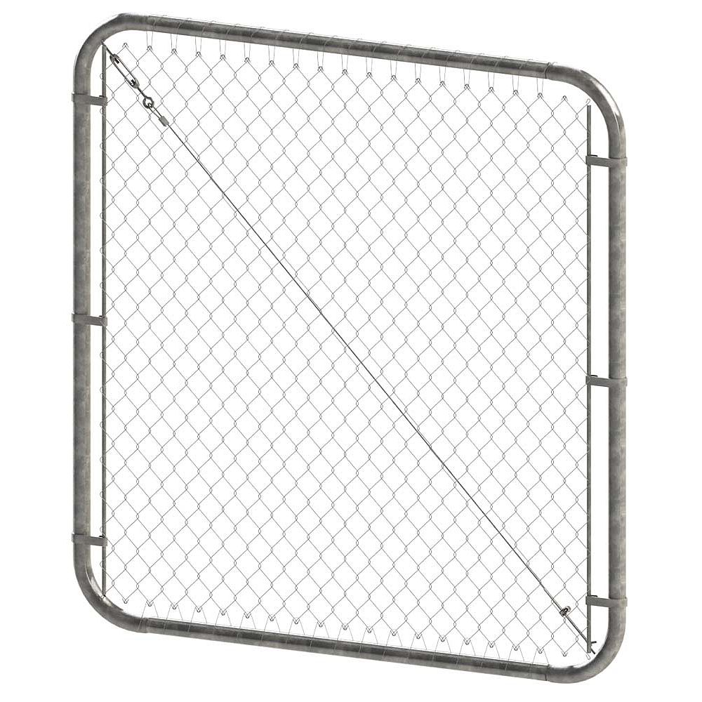 Peak Products 68-inch W x 5 ft. H Chain Link Fencing Adjustable Gate in Galvanized Steel (2-inch Mesh Opening)
