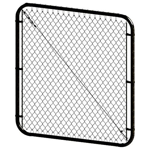 Peak Products 68-inch W x 4 ft. H Steel Adjustable Chain Link Fence Gate in Black with 2-inch Mesh Opening