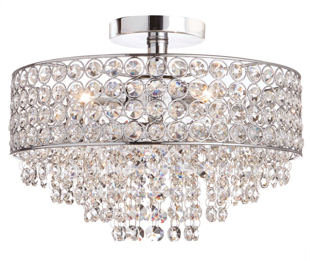 11-Light Chrome Semi-Flushmount Ceiling Light with Crystal Shade and Accents