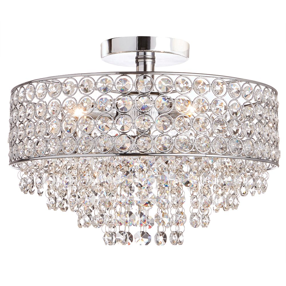 12-Light Chrome Semi-Flushmount Ceiling Light with Crystal Shade and Accents