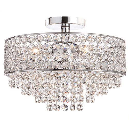 3-Light Chrome Semi-Flushmount Ceiling Light with Crystal Shade and Accents