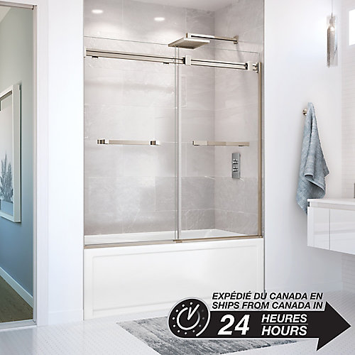 Duel 59 inch x 55 1/2 inch Frameless Sliding Tub Door in Brushed Nickel