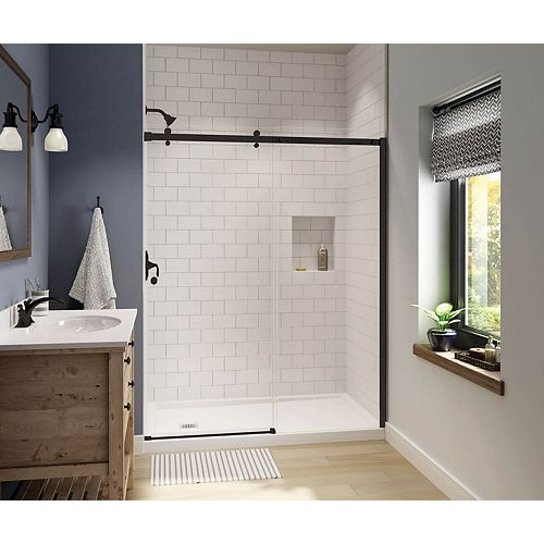 Luminescence 56-1/2 - 59W x 70-1/2H Frameless Sliding Shower Door in Dark Bronze with Clear Glass